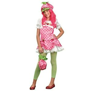 Image is loading Deluxe-Strawberry-Shortcake-Costume-Kids -Tween-Halloween-Fancy-  sc 1 st  eBay & Deluxe Strawberry Shortcake Costume Kids Tween Halloween Fancy Dress ...