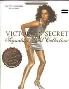 2-Victoria-039-s-Secret-Signature-Gold-Size-Medium-Oatmeal-Glossy-Smooth-Pantyhose