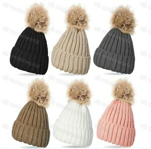 7ebe0e32c Details about Ladies Knitted Ribbed Beanie Bobble Hat Raccoon Fur Removable  XL Pom Pom