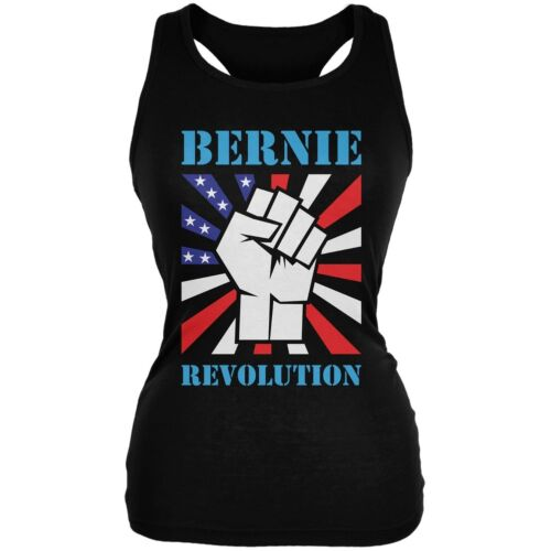 Election 2016 Bernie Sanders Raised Fist Revolution Black Juniors Soft Tank Top