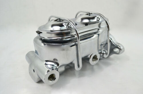 """GM CHROME MASTER CYLINDER 1/"""" BORE UNIVERSAL LH//RH PORTS HOT ROD MUSCLE CAR"""