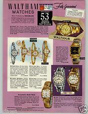 1959 PAPER AD 4 PG Waltham Wrist Watch 53 Jewel Skindiver Rototron Cushing