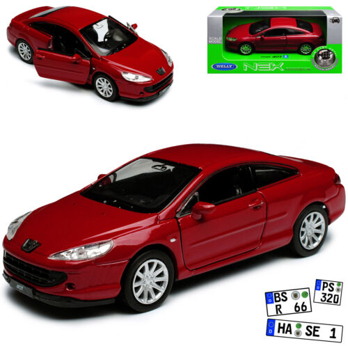 Peugeot 407 Coupe Rot 2004-2011 ca 1//43 1//36-1//46 Welly Modell Auto mit oder ohn