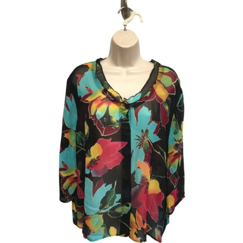 Soft Surroundings Sheer Silk Chiffon Ruffle Floral Print Blouse Top Size XL