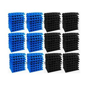 96-pc-Acoustic-Foam-Pyramid-BLUE-and-GREY-12x12x2-034-Studio-Soundproofing-tile