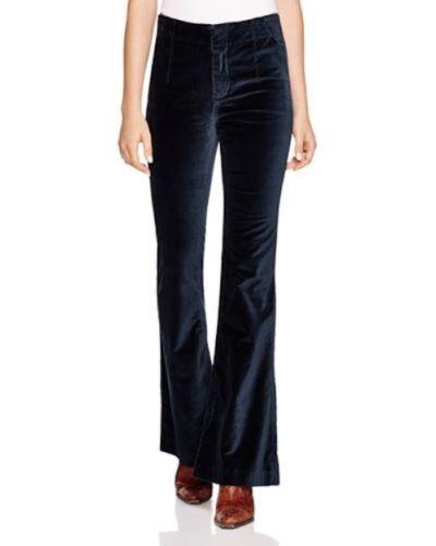 Free People Oxanna Jewel Royal Blue Velvet Flared Pants OB442577 $128 NWT