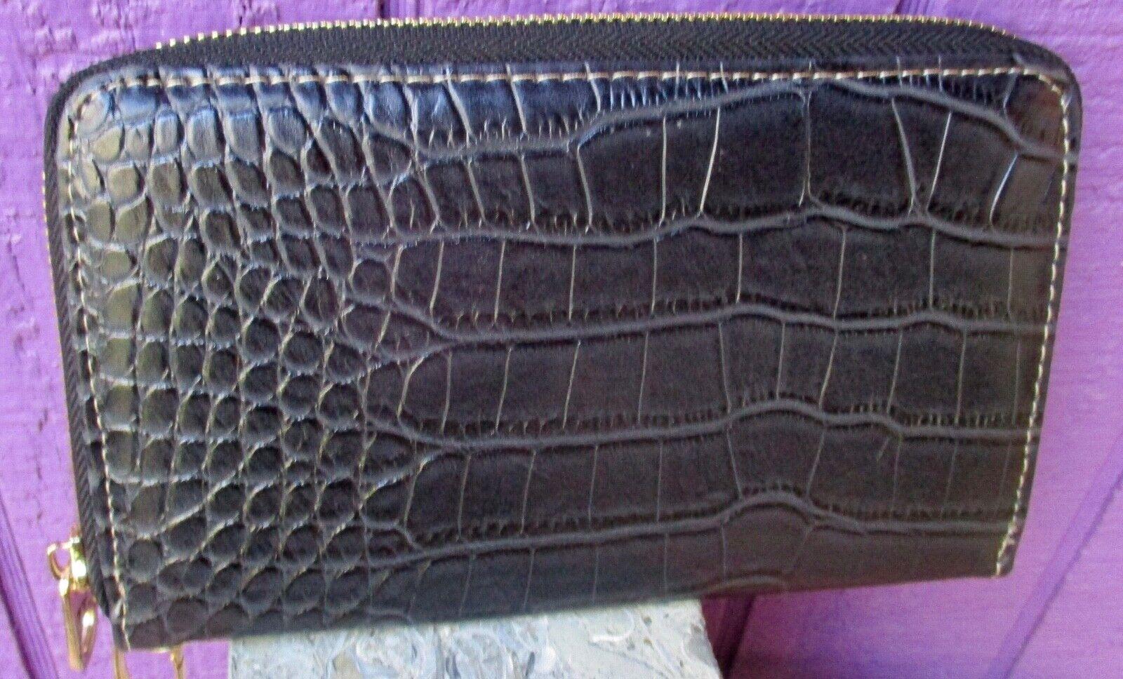 MONTANA WEST Croc Print Collection Wristlet Clutch Wallet Zip Around