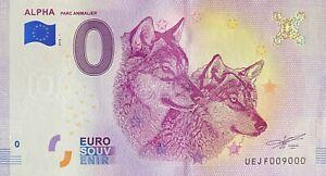 BILLET-0-EURO-ALPHA-PARC-ANIMALIER-FRANCE-2018-NUMERO-9000