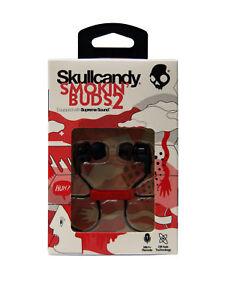 Skullcandy-Smokin-039-Buds-2-Wired-In-Ear-Headphones-w-Mic-Black-Red