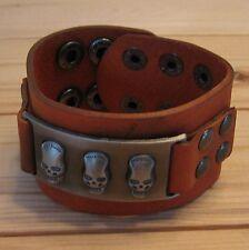 Skull gothic punk biker motor rock leather wristband bracelet