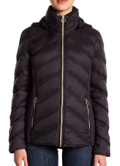 540f3d2c2 MICHAEL Michael Kors Womens Packable Quilted Chevron Puffer Down Jacket  Black