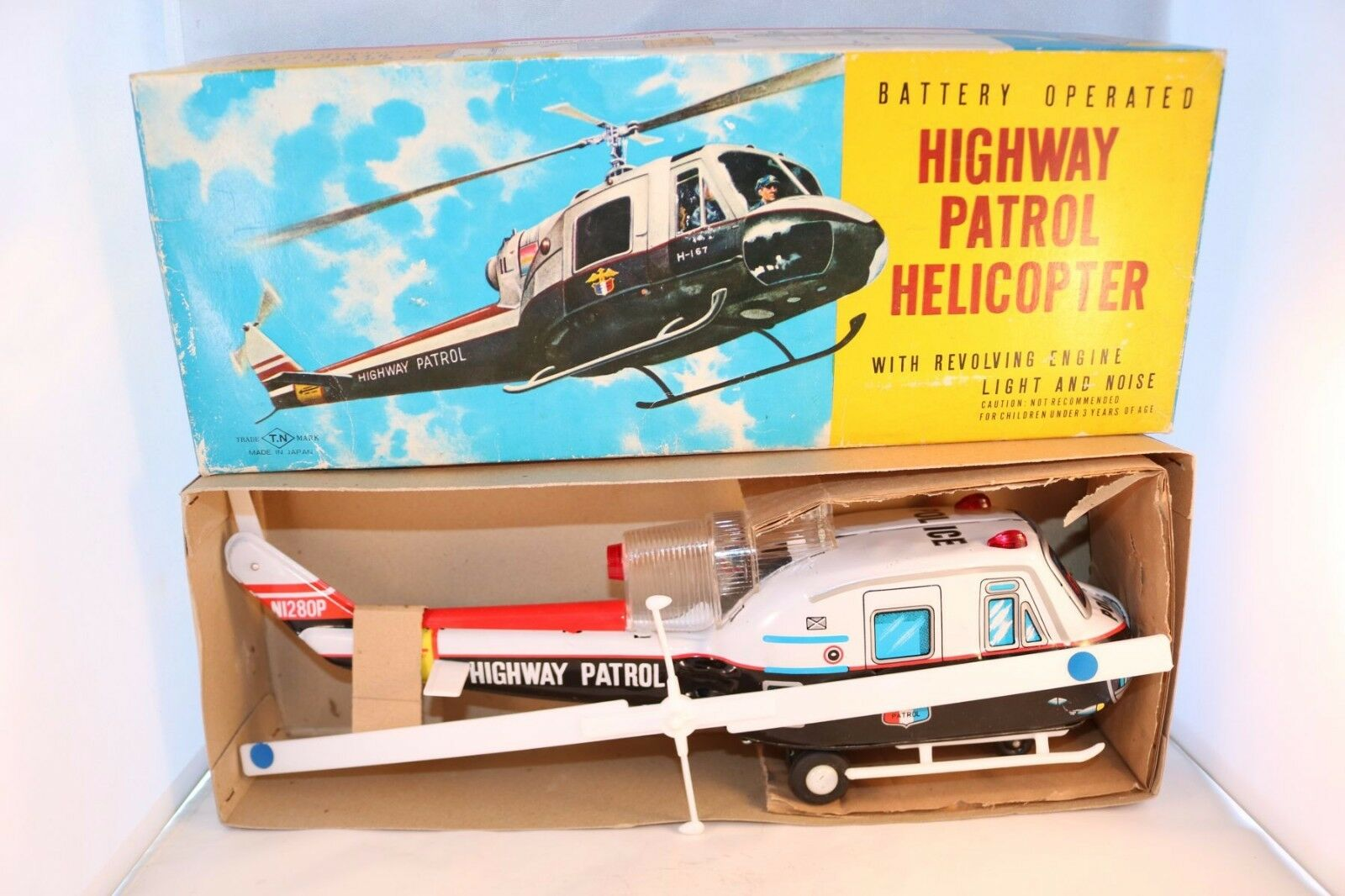 T.N Highway Patrol Helicopter Battery operated Made in Japan near mint in box