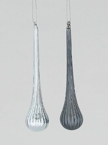 24294 Melrose Set//2 Silver Pewter Hand Blown Glass Christmas Ornament Finial