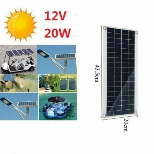 20W 12V Panneau Solaire Batterie Chargeur Portable pour Voiture RV Camping