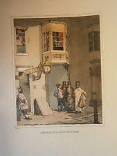 Planche gravure Auberge et maison de poste  Par Eugéne Louis Lami