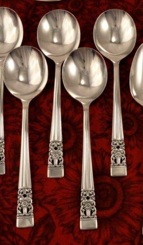 4 Gumbo Soup Spoons Vintage CORONATION Oneida Community Vintage 1936 Art Deco