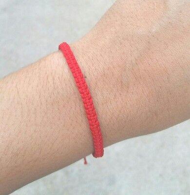 Authentic Thai Blessed Buddhist Wristband Fair Trade Wristwear Dark Red