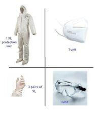 Xl Hazmat Suit Dupont Tychem Survival Protection Coveralls Goggles Ppe 6pc Kit