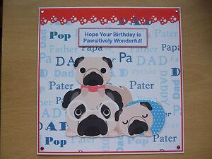 Image Is Loading Handmade Pug Dogs Birthday Card Puppy Greetings Blue