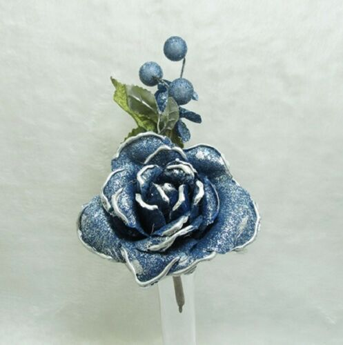 20X Dark Blue Craft Scrapbooking Wedding Decor Flower 19cm Long