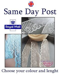 VINTAGE-White-Blue-Baige-Nude-LACE-RIBBON-TRIM-40mm-WIDE-BRIDAL-CRAFTS