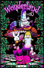 ALICE IN WONDERLAND - BLACKLIGHT POSTER - 24X36 FLOCKED FANTASY MUSHROOM 1910