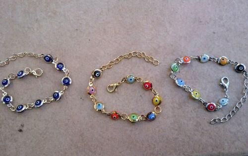 Acier Inoxydable grec Mauvais oeil Chaîne Link Bracelet Or ton argent bleu rainbow