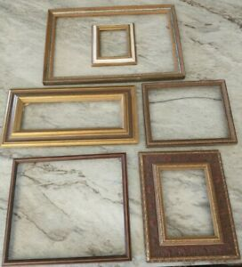Vintage 6 ornate PICTURE FRAME Lot Recycle Arts Craft Project Deco Red tone geo