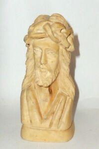 Intagliato-Betlemme-Statua-Figura-di-Legno-Gesu-Busto-Intagliato