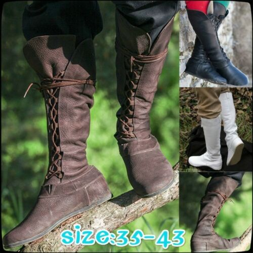 Ladies Womens Retro Lace Up Riding Moccasin Knee High Boots Casual Flat Shoes