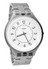 Swatch SVUM101G Skin Steps White Dial Silver Gray Stainless Steel Bracelet Watch