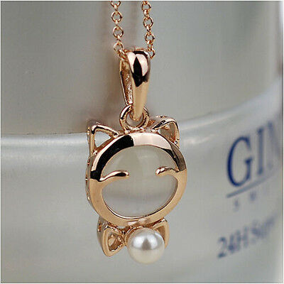 Fashion Women Lady Lucky Cat Faux Pearl Bow Pendant Chain Statement Bib Necklace