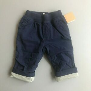 TEA COLLECTION Lined Canvas Baby Pants Beluga Blue Gray Lining 3-6 Months NWT