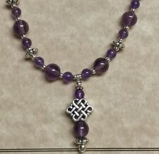 Silver Celtic Knot Necklace with Genuine Amethyst Gemstone beads Irish Scottish