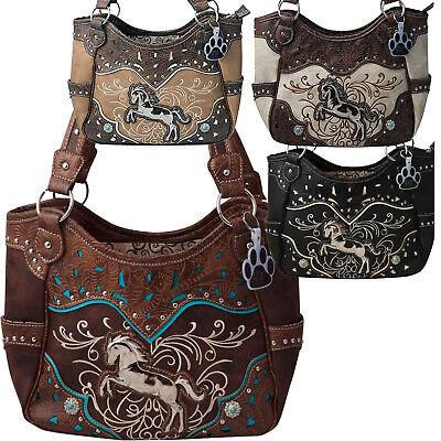 Premium Rhinestone Western Metal Horse Concealed Carry Shoulder Handbag 6 Color