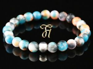 Jade-blau-bunt-925er-sterling-Silber-Armband-Bracelet-Perlenarmband-8mm