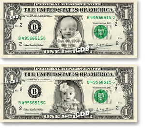 Personalized NEW BABY REAL Dollar Bills Money w/your Picture & Name Newborn Gift