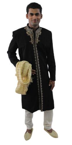 Black Formal Men Royal  Sherwani IndoWestern Jacket Blazer Traditional Embroide
