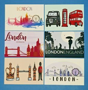Set-of-6-London-Postcards-England-City-View-Street-Travel-Landscape-Landmarks