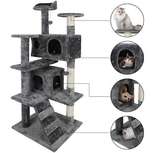 53 Cat Tree Scratching Condo Kitten Activity Tower Playhouse W Cave Ladders Ebay