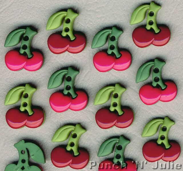 SEW CUTE CHERRIES - Cherry Pink Red Novelty Dress It Up Sewing Craft Buttons