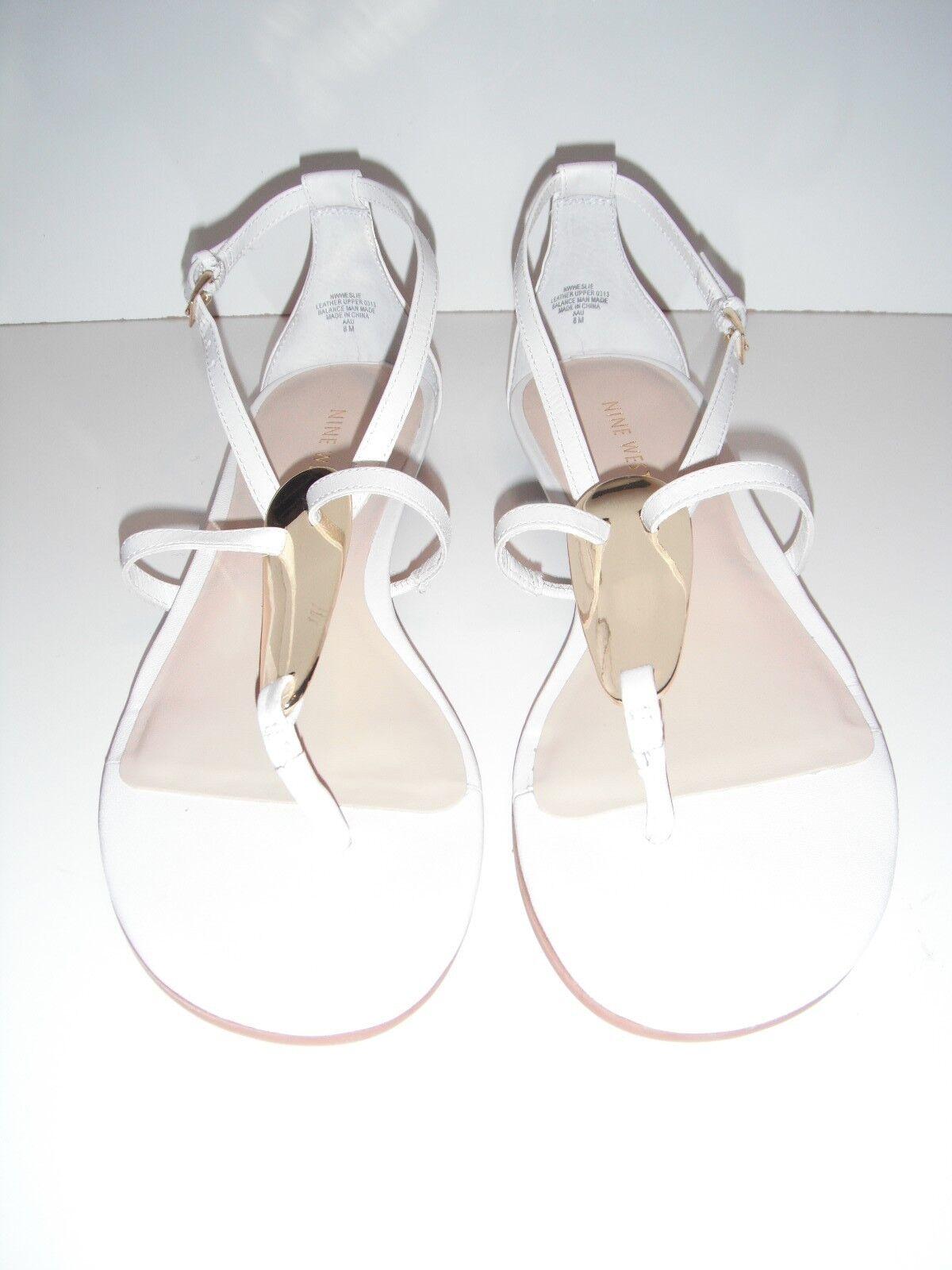nib nine west weslie gladiateur du cuir blanc 8 flat string sandale chaussure sz 8 blanc 276b5b