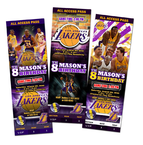 d673947dd La Lakers Birthday Party Invitation Ticket Custom Card Los Angeles  Basketball for sale online