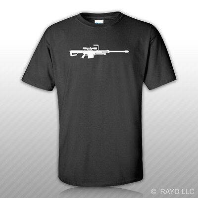 3D GUN PRINT TEE RIFLE PRINT T-SHIRT BARRETT 50 CAL