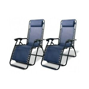 Zero gravity chairs set blue outdoor lounge recliner for Anti gravity chaise
