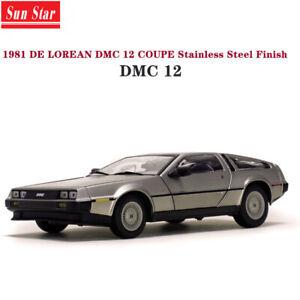 Sunstar-1-18-Delorean-1981-DMC-12-Coupe-Stainless-Steel-Finish-Diecast-Model-Car