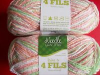 Needle Crafters 4-ply Pompadour Baby Yarn, Gentle, Lot Of 2 (158 Yds Each)
