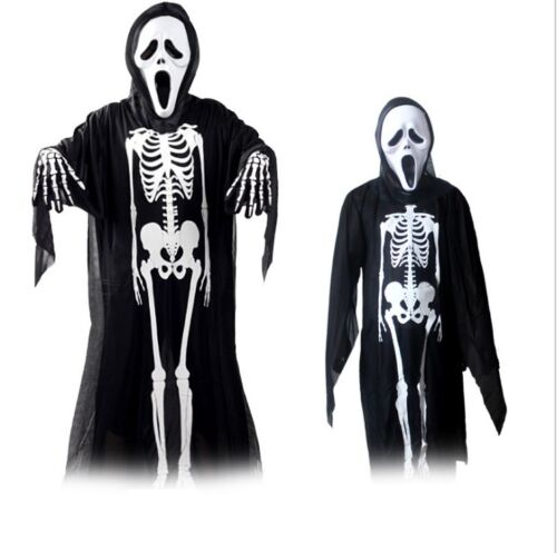 Halloween Costume Outfit Skull Skeleton Kid Adult Fancy Dress with Mask Gloves