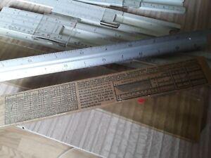 Job lot 4 vintage slide rules & 1 rule Faber Castell jakar BRL Lawrence USA