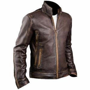 Mens X-Men Biker Retro Cafe Racer 2 Vintage Motorcycle Distressed Brown Leather Jacket